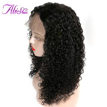 Alishes Hair Curly Lace Front Human Hair Wigs For Black Woman Pre Plucked Brazilian Remy Hair Lace Front Wigs With Baby Hair