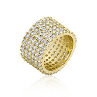 Goldtone Finishd Wide Pave Cubic Zirconia Ring, size : 09