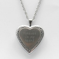 Two-Tone Silver Heart Locket Necklace