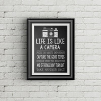 ON SALE Life Is Like A Camera Wall Art Print