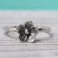 Flower stacking ring, sterling silver, floral stackable cherry blossom thin handmade stack silver ring