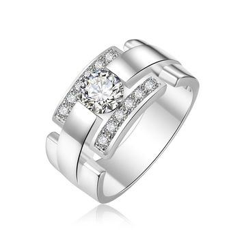 Mens Ring with Created White Sapphire Rhodium Plated Brass