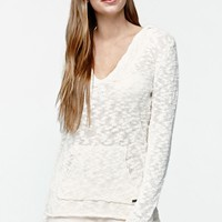 Roxy Warm Heart V-Neck Pullover Hoodie - Womens Sweater - White