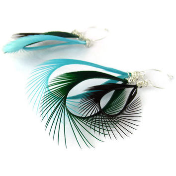 Feather Earrings Bohemian Turquoise Green & Brown by donaarg