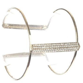 Clear Pave Crystal Stone Layered Wire Metal Cuff Bracelet