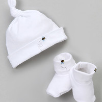 White Bee Single-Knot Pima Beanie & Booties - Infant