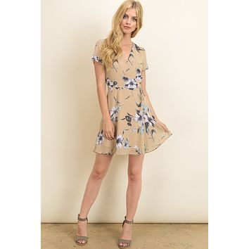 Tan floral short sleeve babydoll dress