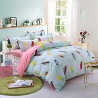 Indian feather bedding bed sets queen king twin light blue and pink comforter quilt duvet cover 4/5 pc kids bedroom decor
