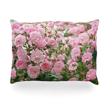"Sylvia Cook ""The Fairy Rose"" Pink Floral Oblong Pillow"