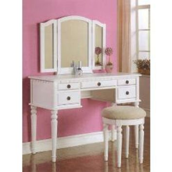 3 pc White finish wood make up bedroom vanity set with curved legs stool and tri fold mirror with multiple drawers- Poundex-For the Home-Bathroom Furniture-Bathroom Benches, Stools & Chairs