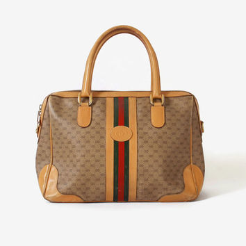 Authentic GUCCI Speedy PURSE / Vintage Monogram Web Stripe Tan Leather Doctor Bag