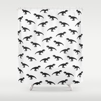 T-Rex Pattern Shower Curtain by Elisabeth Fredriksson