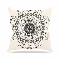 "Famenxt ""Boho Tribe Mandala"" Beige Black Outdoor Throw Pillow"