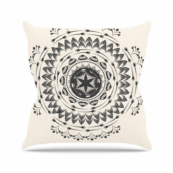 "Famenxt ""Boho Tribe Mandala"" Beige Black Throw Pillow"
