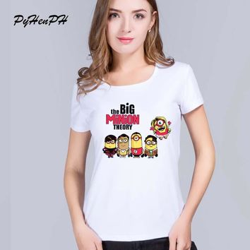 PyHenPH New 2016 The Big Bang Theory 2 Minion Despicable Me Print T shirt Women Casual Short Sleeve Round Neck Tee Tops Clothes