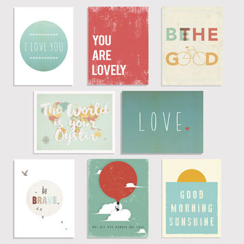 Little Citizens Mini Print Collection -  Set of Eight 5 x 7 Wall Cards