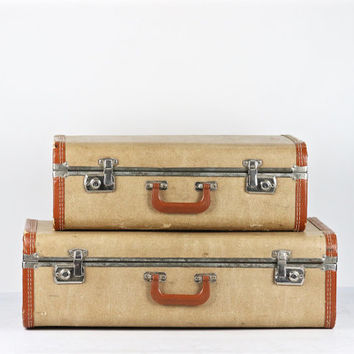 Pair Of Vintage Suitcases, Vintage Suitcases, Suitcase Stack, Old Luggage, Set Of Suitcases, Matching Suitcases, Luggage, Mid Century