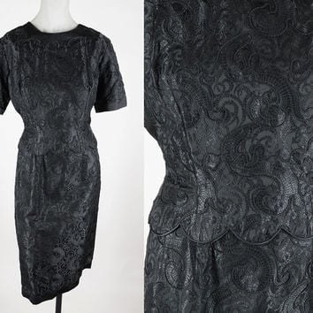 Vintage 60s Dress / 1960s Silk Embroidered Brocade Black Sheath Dress L