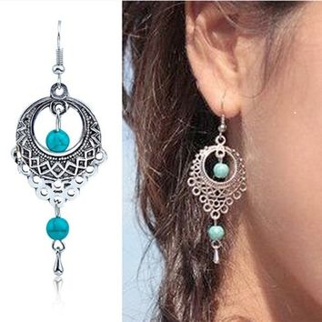 New Silver Bohemia National Wind Turquoise Dangle Earrings for Women