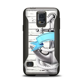 The Aged White Wood With Anchor Samsung Galaxy S5 Otterbox Commuter Case Skin Set