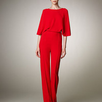 Valentino - Cross-Back Cady Jumpsuit - Bergdorf Goodman