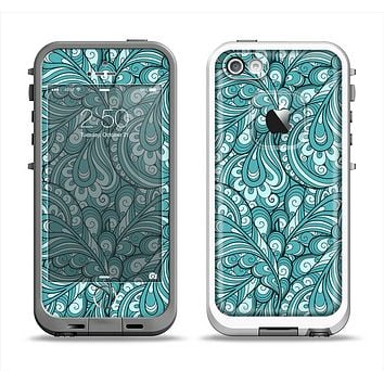 The Teal Floral Paisley Pattern Apple iPhone 5-5s LifeProof Fre Case Skin Set