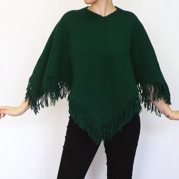 Vintage 1970s 80s Green Knit Wool Cape Sweater Coat Cloak Capelet Poncho Shawl Irish St. Patrick's Day Christmas Caroler Boho Preppy Hipster