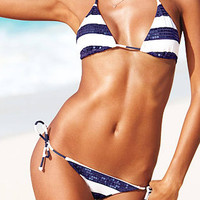Sequins Stripped String Bikini