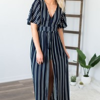Lean On Me Striped Maxi Romper- Navy