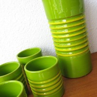 60s Mid Century MODERN Green Art Pottery COCKTAIL by fabulousmess