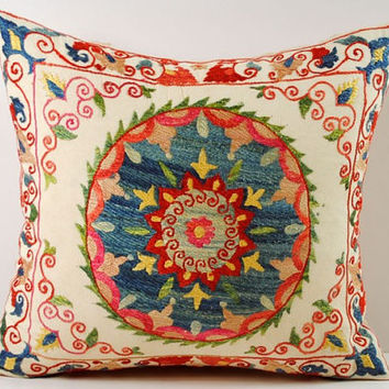 Handmade Suzani Pillow Cover ssp1-12, Suzani Pillow, Uzbek Suzani, Suzani Throw, Boho Pillow, Suzani, Decorative pillows, Accent pillows