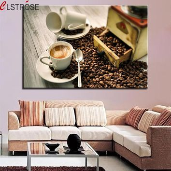 CLSTROSE HD Prints Pictures Home Decor Poster 1 Piece/Pcs Coffee Beans Paintings Steaming Coffee Cup On Canvas Kitchen Wall Art