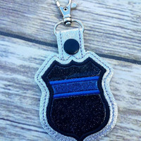 Back the blue keychain, blue line support keychain, blue line snap tab, police support keychain, police support snap tab