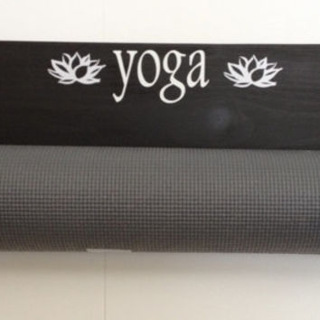 Yoga, handmade yoga, handmade yoga mat holder, custom wall mounted yoga mat holder, yoga studio decor, yoga room decor, yoga access
