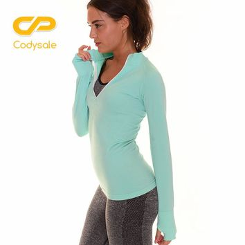 Codysale Women Fashion T-Shirt Tops Casual Long Sleeve Sweatshirt For Leisure Exercise Front Zipper Elastic Workout T-shirts M/L