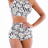 White and Black Daisy Printed High Waist Bikini