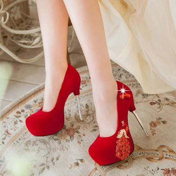 Crystal Pattern Round Toe Platform Stiletto High Heels Prom Shoes