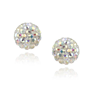 Sterling Silver Aurora Borealis Crystal Fireball Stud Earrings, 8mm
