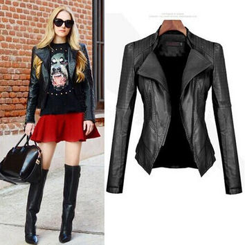 Women Punk Motorcycle Style PU Jacket Gift-265