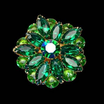 Green Navette Rhinestone and Art Glass Brooch 3 Tiers Riveted Stones Gold Tone