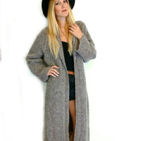 80s ALPACA wool MOHAIR Cardigan DUSTER Long Maxi Sweater