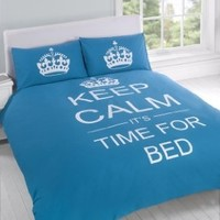 TWIN TEAL TEENAGER KEEP CALM ITS TIME FOR BED COTTON REVERSIBLE COMFORTER COVER:Amazon:Home & Kitchen