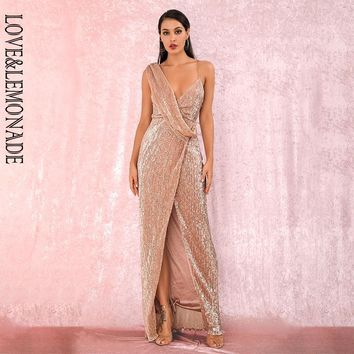 LOVE&LEMONADE Sexy Rose Gold Deep V-Neck Whit Split Sequins Party Maxi Dress LM81849 Autumn/Winter