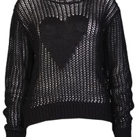 Holey Heart Jumper in Black - Womens Clothing Sale, Womens Fashion, Cheap Clothes Online | Miss Rebel