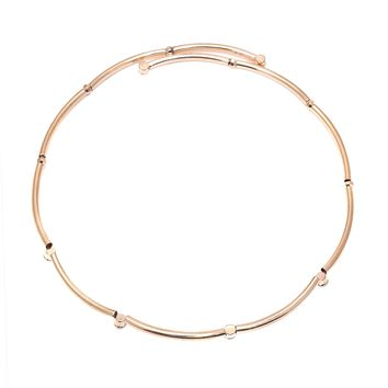 Crystal Accent Bamboo Design Wire Choker Necklace