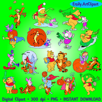 Winnie The Pooh Clipart 16 PNG Halloween Clipart Holiday Tigger Piglet Disney Clip Art Digital Graphic Art Invitations Printable 300 dpi