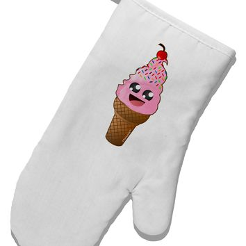 Cute Ice Cream Cone White Printed Fabric Oven Mitt