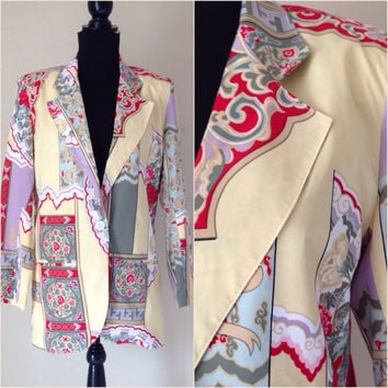 Vintage Silk Blazer / Howard Wolf Jacket / Versace Like Pattern / Below the Hips / 80's Blazer / Women's Jacket / Vintage Clothing