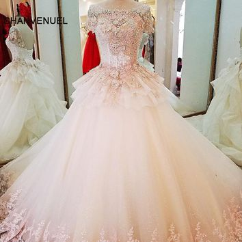 LS37940 arab wedding gowns ball gown lace up back back colorful lace flowers wedding dresses robe de mariage real photos 2018