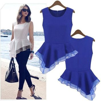 Ladies Peplum Irregular Tank Tops Frill Fitted Shirt Party Tails Blouse  18726